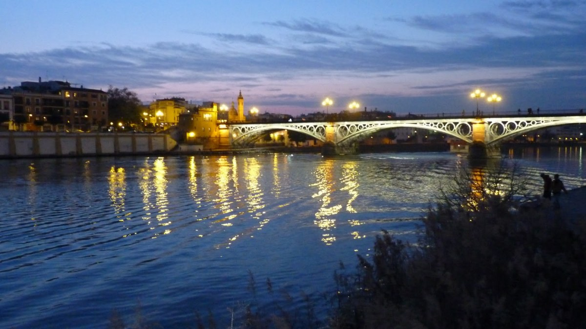 Riverside in Seville at dusk